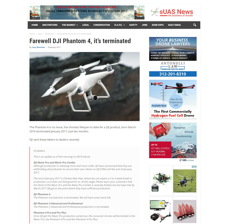 sUAS News - Farewell Phantom 4